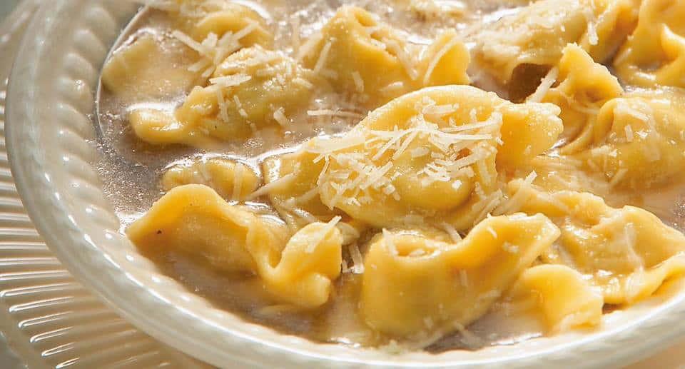 Tortellini in Brodo Di Cappone (Capon broth soup)