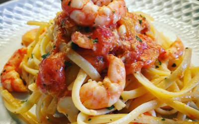 Linguine with cherry tomatoes and king prawns
