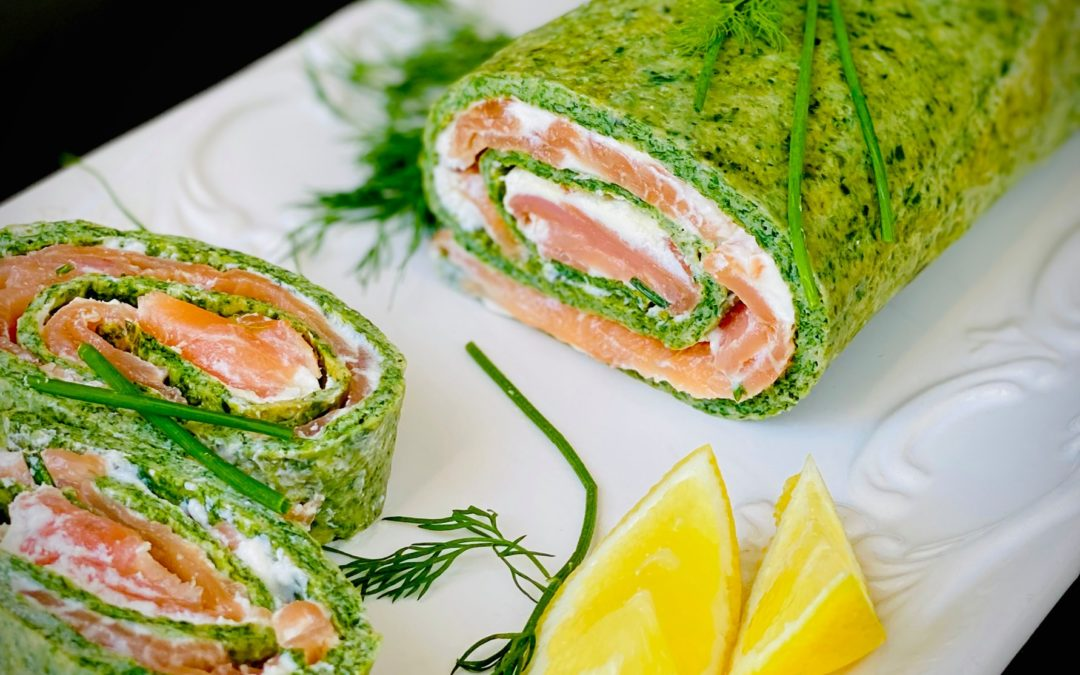 Spinach & Basil roulade with smoked Salmon